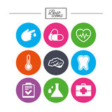Medicine, healthcare and diagnosis icons. Royalty Free Stock Images