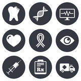 Medicine, healthcare and diagnosis icons Stock Image