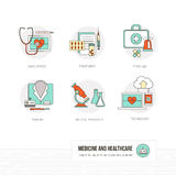 Medicine and healthcare. Medicine, healthcare and doctors concepts, thin line objects and icons set Stock Photo