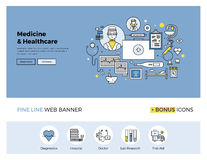 Medicine and healthcare flat line banner Stock Photos