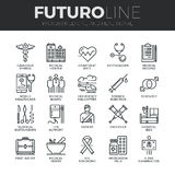 Medicine and Healthcare Futuro Line Icons Set. Modern thin line icons set of healthcare professionals and medical equipment. Premium quality outline symbol Royalty Free Stock Photo