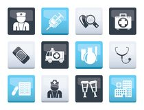 Medicine and healthcare icons over color background. Vector icon set stock illustration