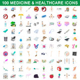 100 medicine and healthcare icons set. In cartoon style for any design vector illustration Royalty Free Stock Photos