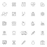 Medicine and Healthcare Icons. Set of 25 medicine and healthcare symbols. Thin line icons on white background Royalty Free Stock Photos