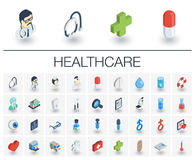 Medicine and healthcare isometric icons. 3d vector Stock Image