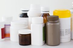 Jars of different medicines Stock Photo