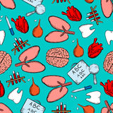 Medicine and healthcare seamless pattern Royalty Free Stock Photo
