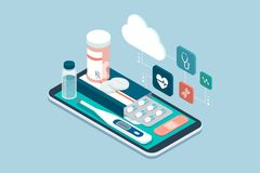 Medicine, healthcare and therapy app. Prescription drugs, first aid and medical diagnosis equipment on a smartphone with icons Stock Image