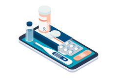 Medicine, healthcare and therapy app. Prescription drugs, first aid and medical diagnosis equipment on a smartphone with icons Royalty Free Stock Photography