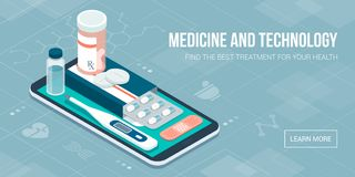 Medicine, healthcare and therapy app. Prescription drugs, first aid and medical diagnosis equipment on a smartphone with icons Stock Images
