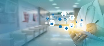 medicine heart Medicine doctor  technology network concept medic Royalty Free Stock Photography