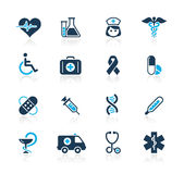Medicine & Heath care // Azure Series. Set of decorative blue icons isolated on white background for your medical projects Stock Photo