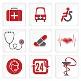 Medicine and Heath Care icons. Vector illustration of the Medicine and Heath Care icons Stock Photo