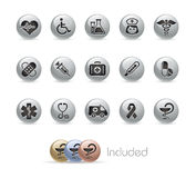 Medicine & Heath care// Metal Button Series. The EPS file includes 4 color versions for each icon in a different layer Stock Photography