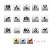 Medicine & Heath care // Metallic Series. The EPS file includes 4 color versions for each icon in a different layer Royalty Free Stock Image