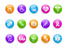 Medicine & Heath Care // Rainbow Series. Set of decorative round icons isolated on white background for your medical projects Stock Images