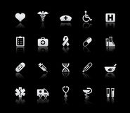 Medicine & Heath Care // Silver Series. Vector icons set reflected in black background Stock Photography