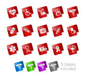 Medicine & Heath care // Stickers. +++ The .eps file includes 5 color versions in different layers Royalty Free Stock Photo