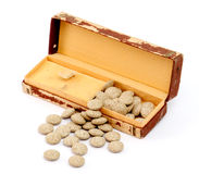 Medicine herbal pills and vintage watch box Royalty Free Stock Photography