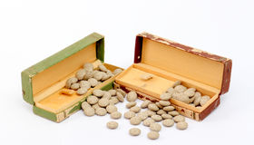 Medicine herbal pills and vintage watch box Stock Photography