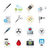 Medicine and hospital equipment icons Stock Images