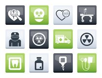 Medicine and hospital equipment icons over color background. Vector icon set royalty free illustration