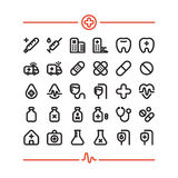 Medicine Hospital First Aid Health 32 Vector Icons Set. Medicine Hospital First Aid Health Vector Outline Bold Icons Set Stock Image