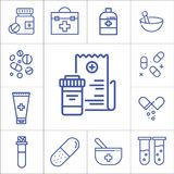 Medicine, hospital items,  linear vector icons. Medicine, hospital items,  flat linear vector icons Stock Images