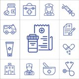 Medicine, hospital items,  linear vector icons Royalty Free Stock Image