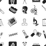 Medicine and hospital pattern icons in black style. Big collection of medicine and hospital vector symbol stock Stock Photos