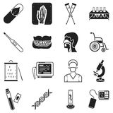 Medicine and hospital set icons in black style. Big collection medicine and hospital vector symbol stock illustration Royalty Free Stock Photography