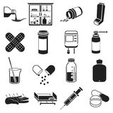 Medicine and hospital set icons in black style. Big collection medicine and hospital vector symbol stock illustration Stock Photos