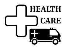 Medicine icon with cross and ambulance car. Silhouette Royalty Free Stock Photography