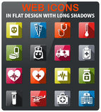 Medicine icon set. Medicine icons set in flat design with long shadow Stock Images