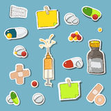Medicine icon set in light blue Royalty Free Stock Photography