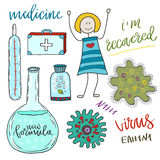 Medicine icon set with pills and virus cell . Medical doodle collection Royalty Free Stock Images