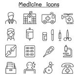 Medicine icon set in thin line style vector illustration