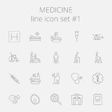 Medicine icon set. Vector dark grey icon isolated on light grey background Royalty Free Stock Photos