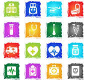 Medicine icon set. Medicine web icons in grunge style for user interface design Stock Photography