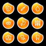 Medicine icons. Vector web icons, orange circle sticker series, V2 Stock Images