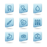 Medicine icons. Vector web icons, blue sticker series, V2 Royalty Free Stock Image