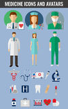 Medicine icons and avatars set. Vector. Medical icons set. Healthcare icons. Vector illustration Royalty Free Stock Photography