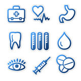 Medicine icons, blue series. Vector web icons, blue contour series, V2 Stock Photo