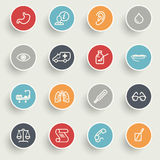 Medicine icons with color buttons on gray background. Vector icons set for websites, guides, booklets Royalty Free Stock Images