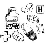 Medicine icons  doodle Stock Photography