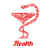 Medicine icons in form of snake on bowl Stock Image