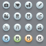 Medicine icons on gray background. Set 2. Stock Image