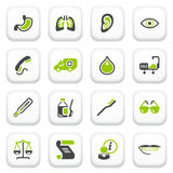 Medicine icons. Green gray series. Royalty Free Stock Image