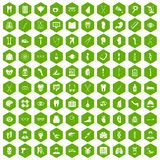 100 medicine icons hexagon green. 100 medicine icons set in green hexagon isolated vector illustration Stock Photo