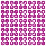 100 medicine icons hexagon violet. 100 medicine icons set in violet hexagon isolated vector illustration vector illustration
